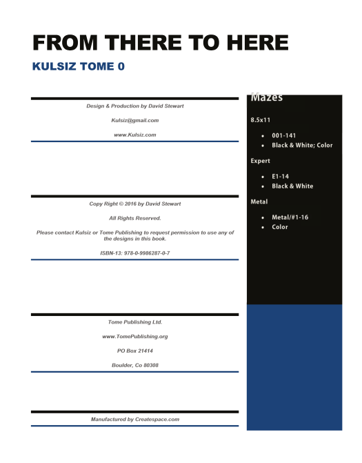 Tome 0 - Copy Right / Table of Contents